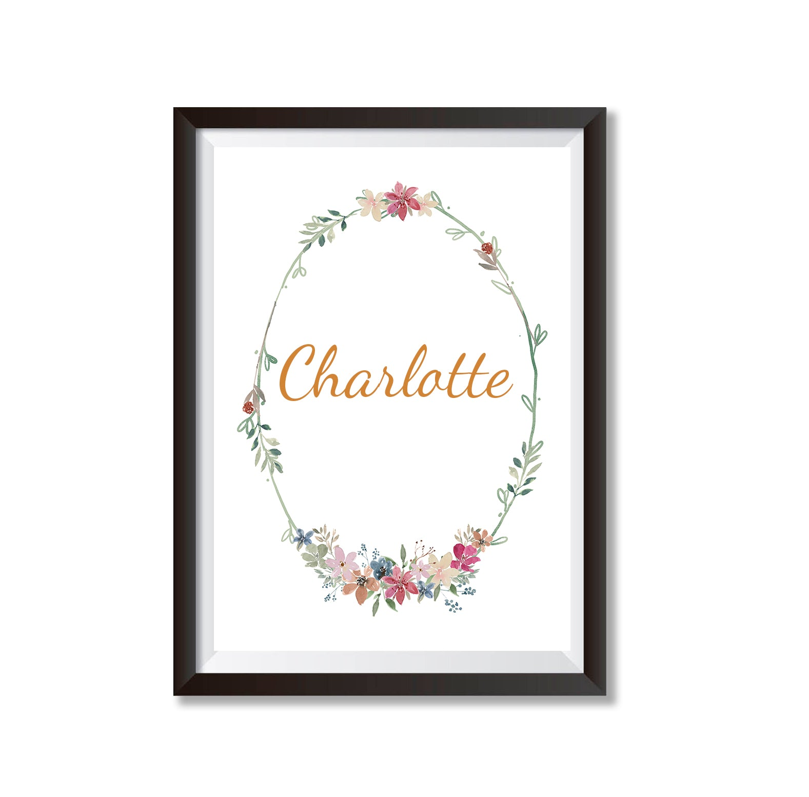 Personalised Name Floral Border Poster Print-Print-Mode Prints