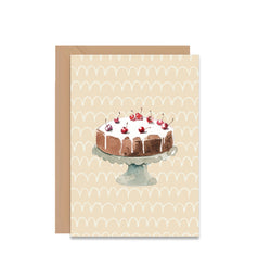 Chocolate Cake With Cherries On Top Blank Greeting Card - Mode Prints