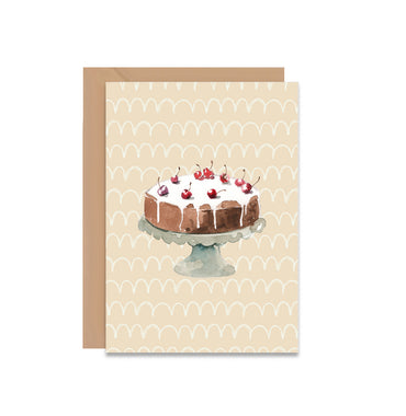 Chocolate Cake With Cherries On Top Blank Greeting Card-Greeting Cards-Mode Prints