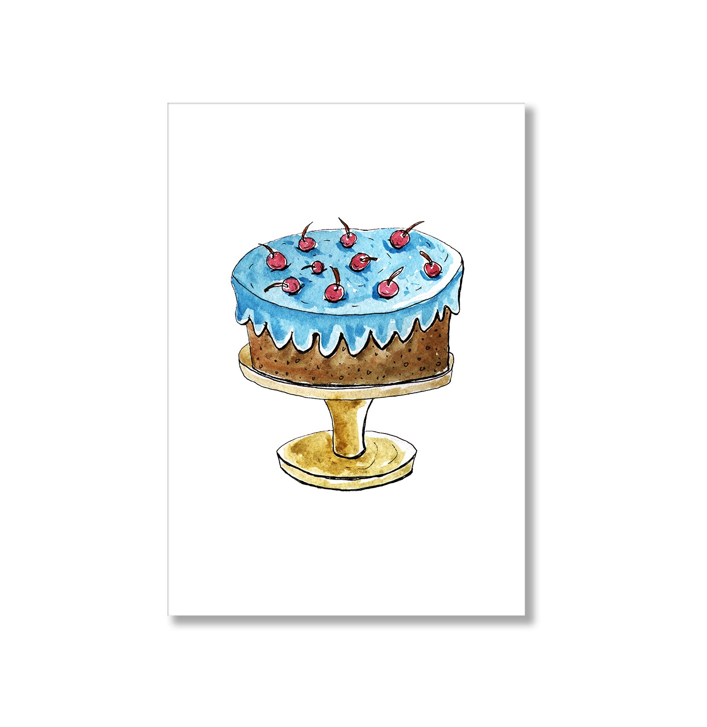 Chocolate Cake With Cherries Art Poster Print-Print-Mode Prints