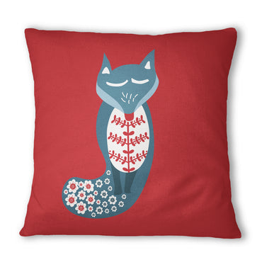 Red Fox Folk Cushion