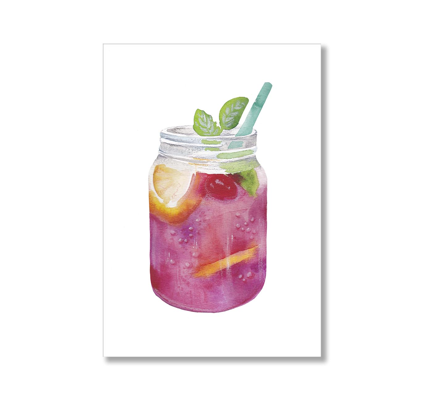 Cocktail Mason Jar Illustration Poster Print-Print-Mode Prints