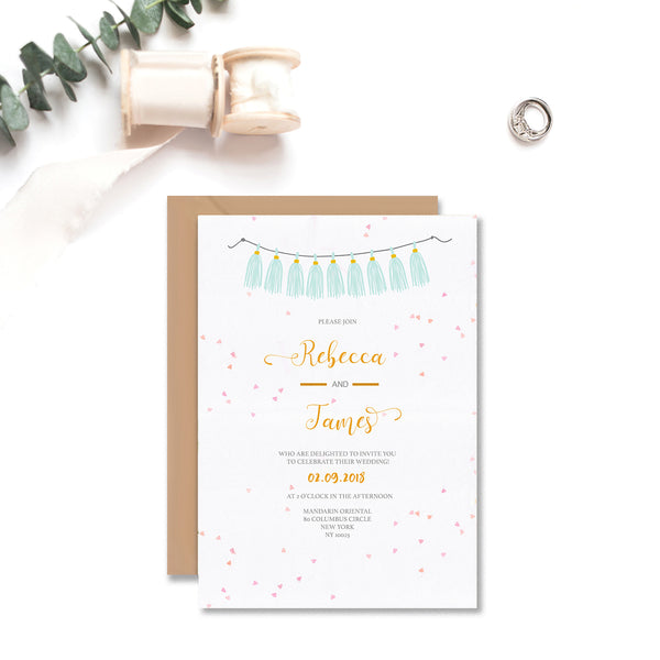 Confetti and Flowers Wedding Invitation - Mode Prints