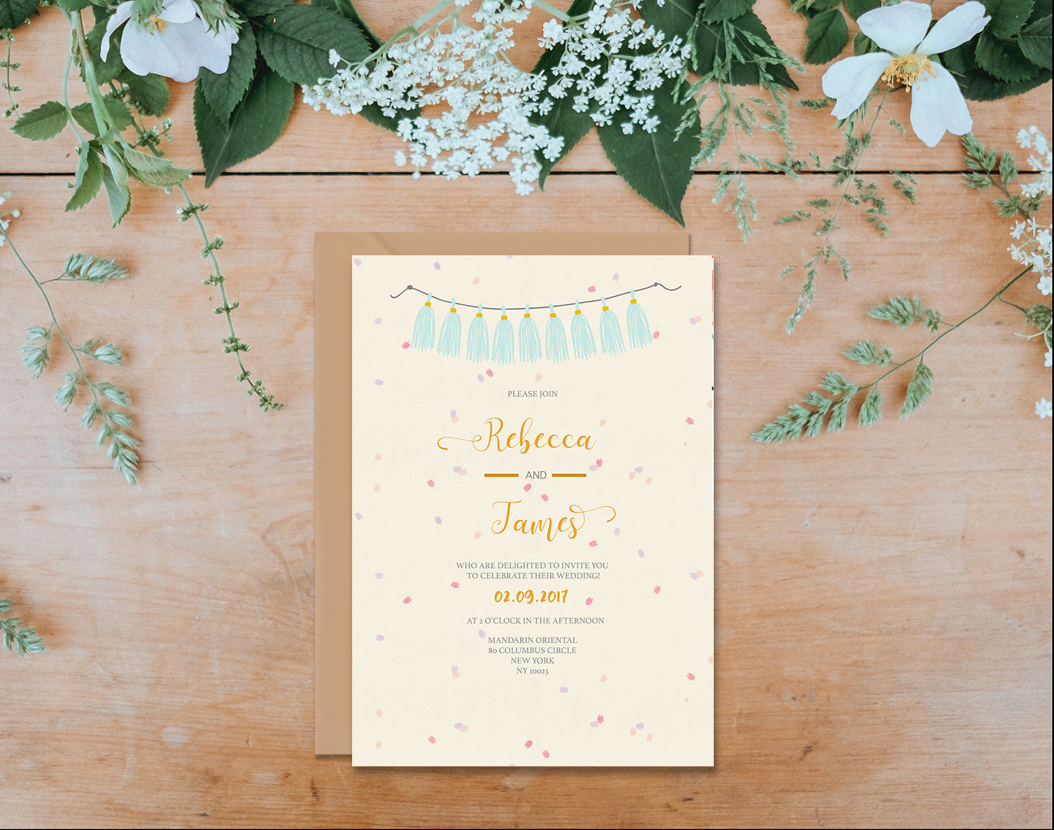 Cream Confetti and Flowers Wedding Invitation-Wedding Stationary-Mode Prints