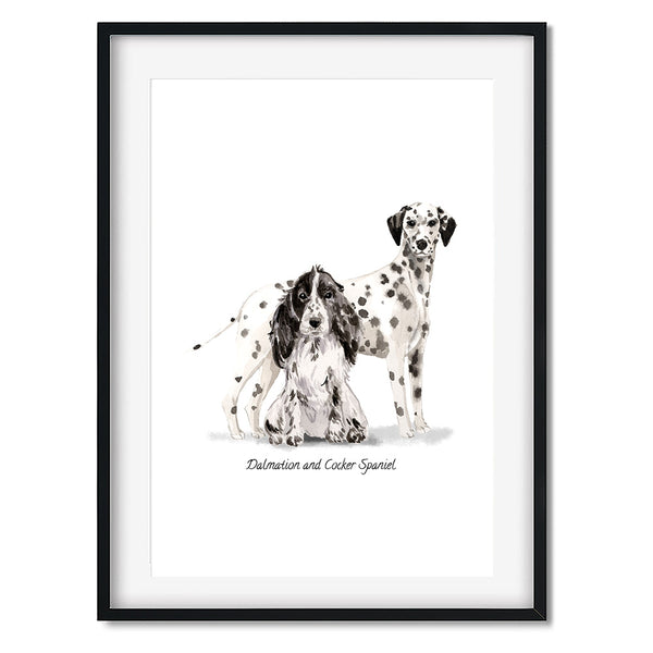 Dalmatian & Cocker Spaniel Dog Print