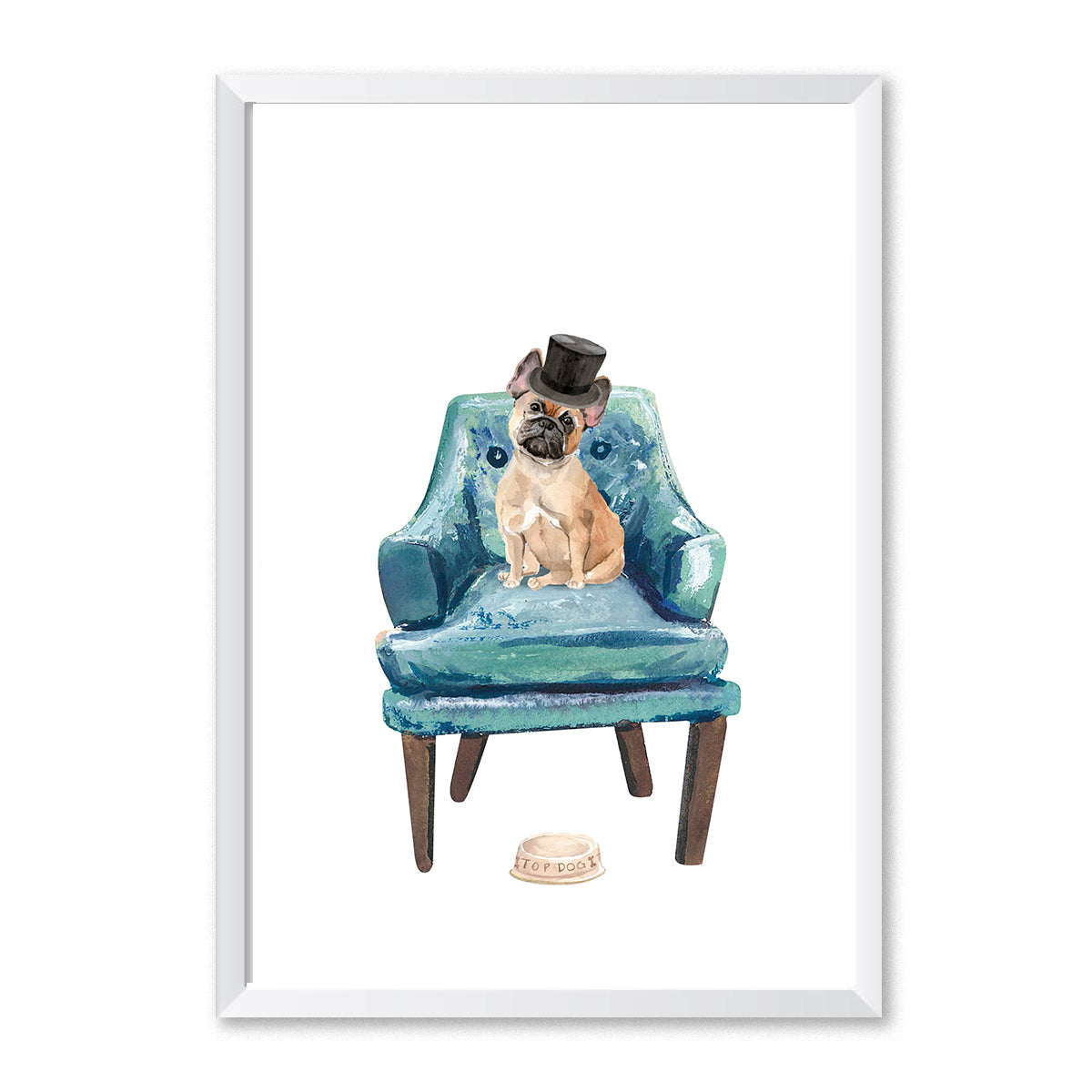 French Bulldog On Chair Top Hat Dog Print-Print-Mode Prints