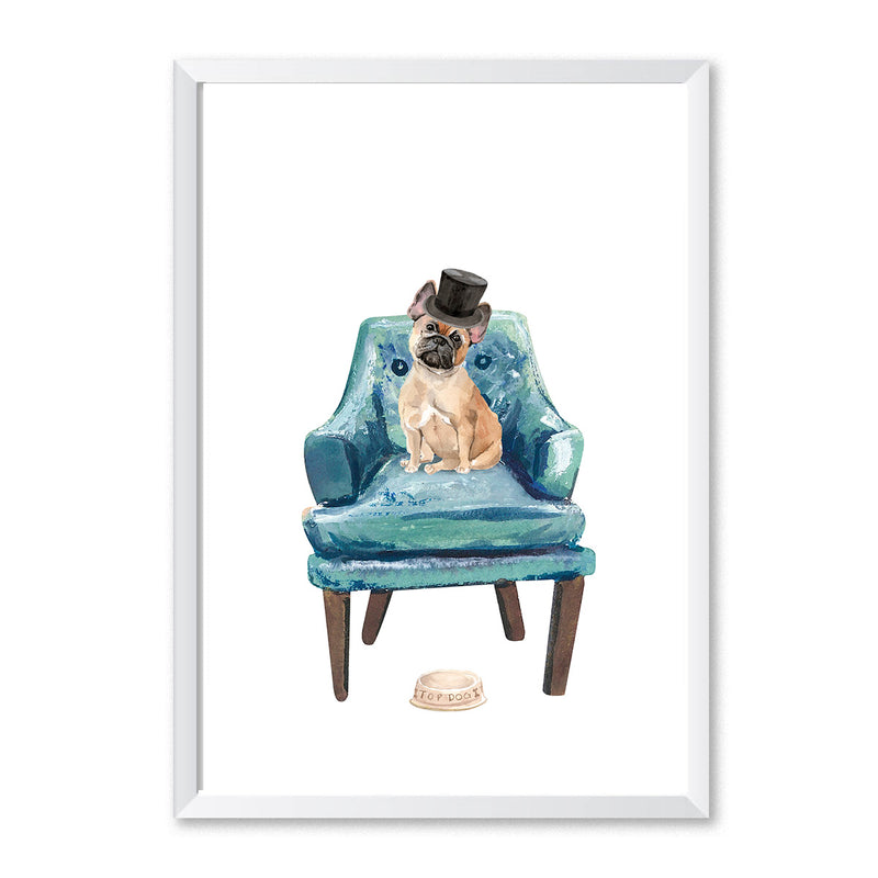 French Bulldog On Chair Top Hat Dog Print - Mode Prints