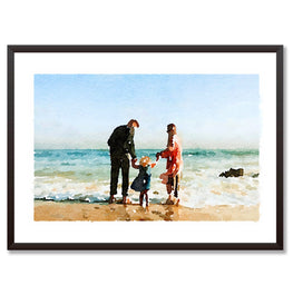 For Dad Custom Watercolour Portrait Personalised Print