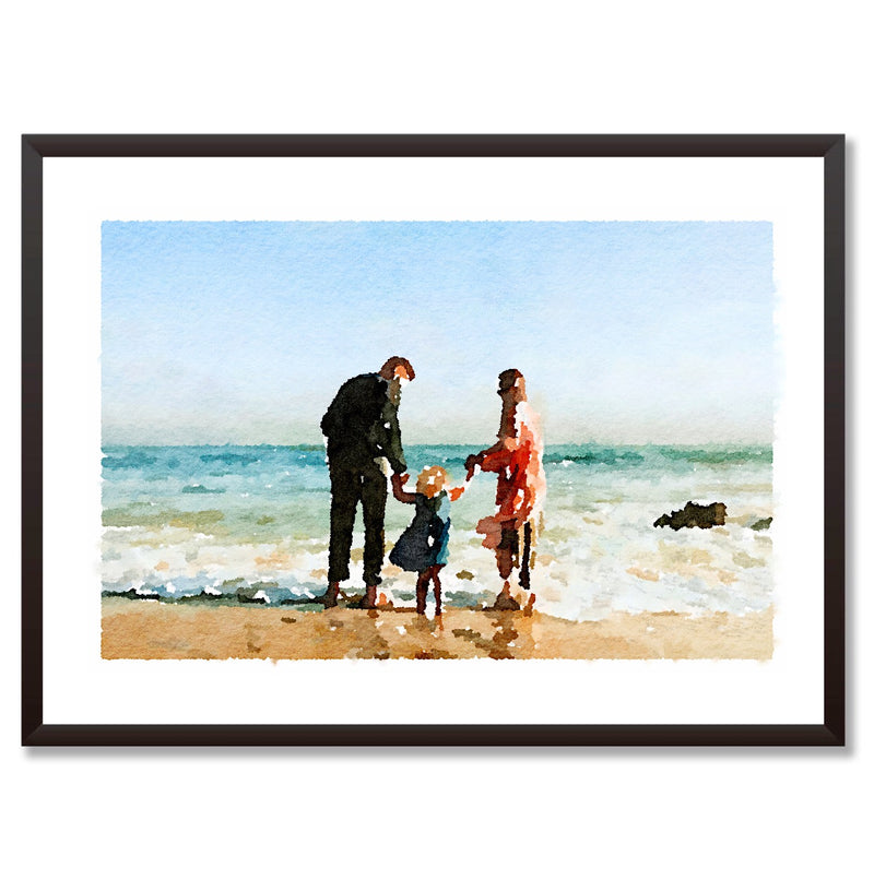 For Dad Custom Watercolour Portrait Personalised Print - Mode Prints