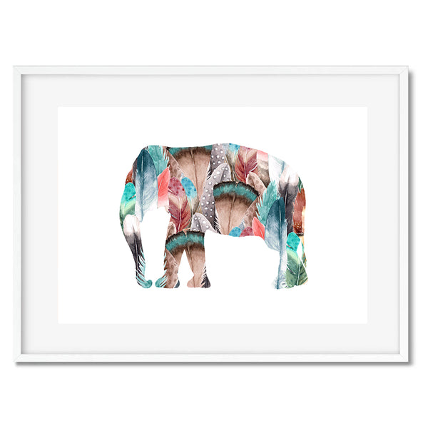 Elephant Feathers Wall Art Print
