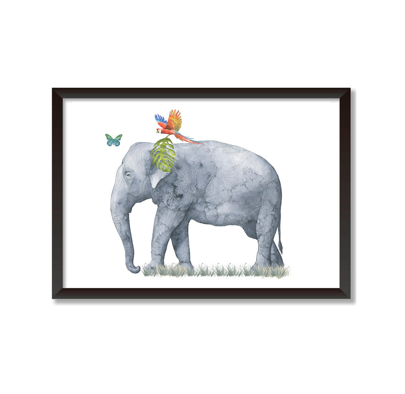 Elephant Tropical Watercolour Portrait Art Print - Mode Prints