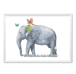Elephant Tropical Watercolour Portrait Art Print