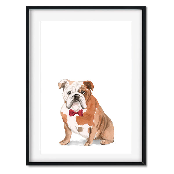 English Bulldog With Bow Tie Dog Print