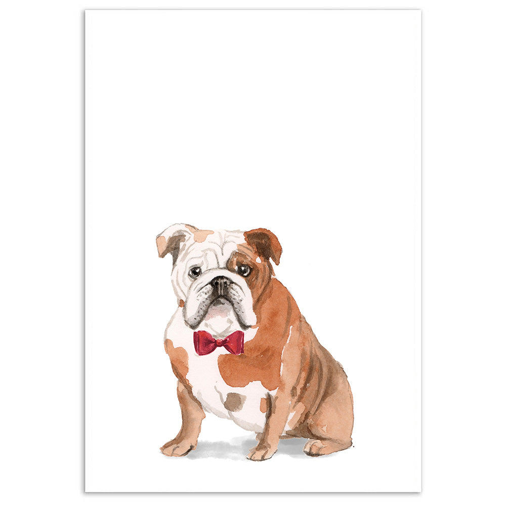 English Bulldog With Bow Tie Dog Print-Print-Mode Prints