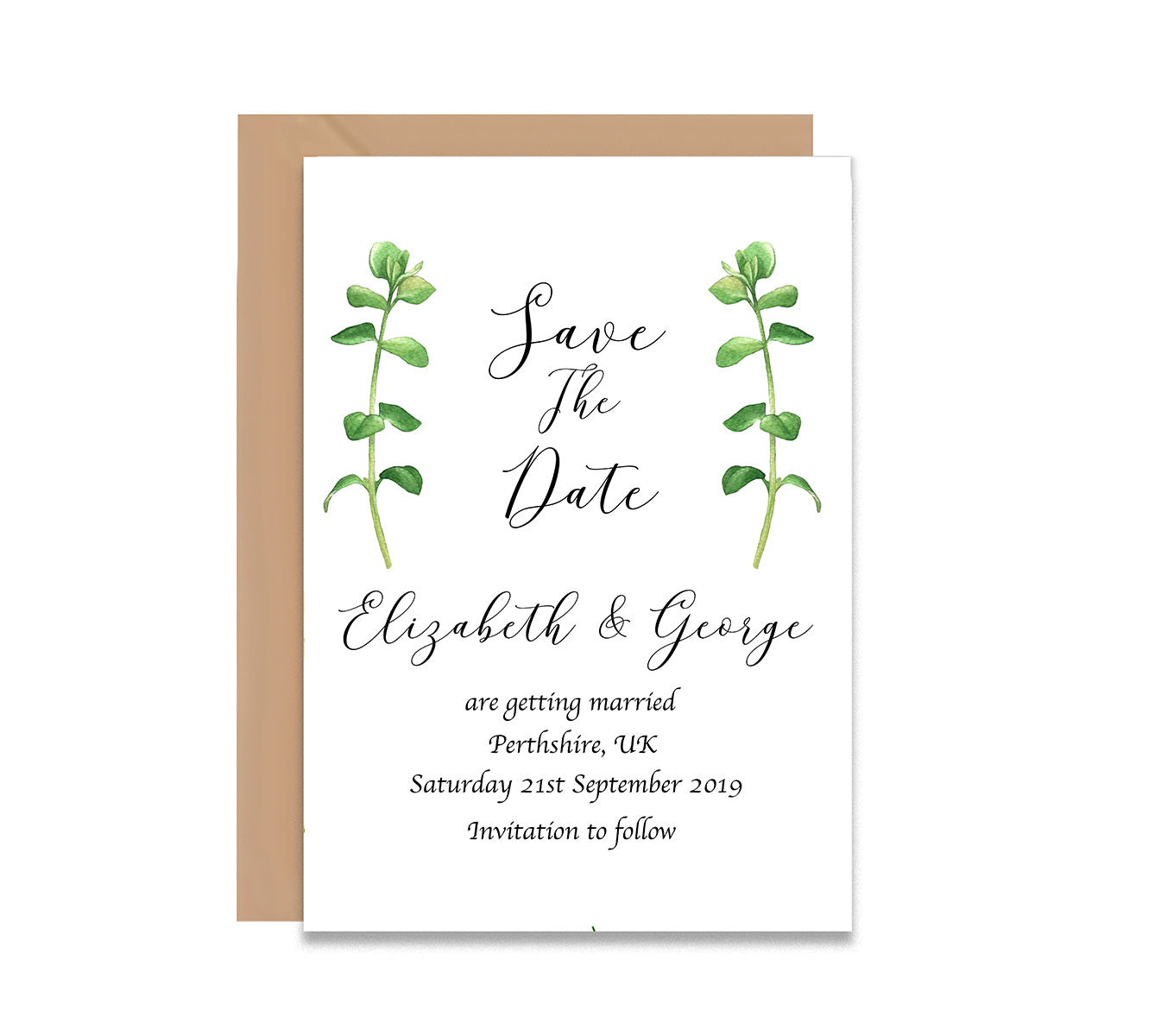 Eucalpytus Save The Date Wedding Card-Wedding Stationary-Mode Prints