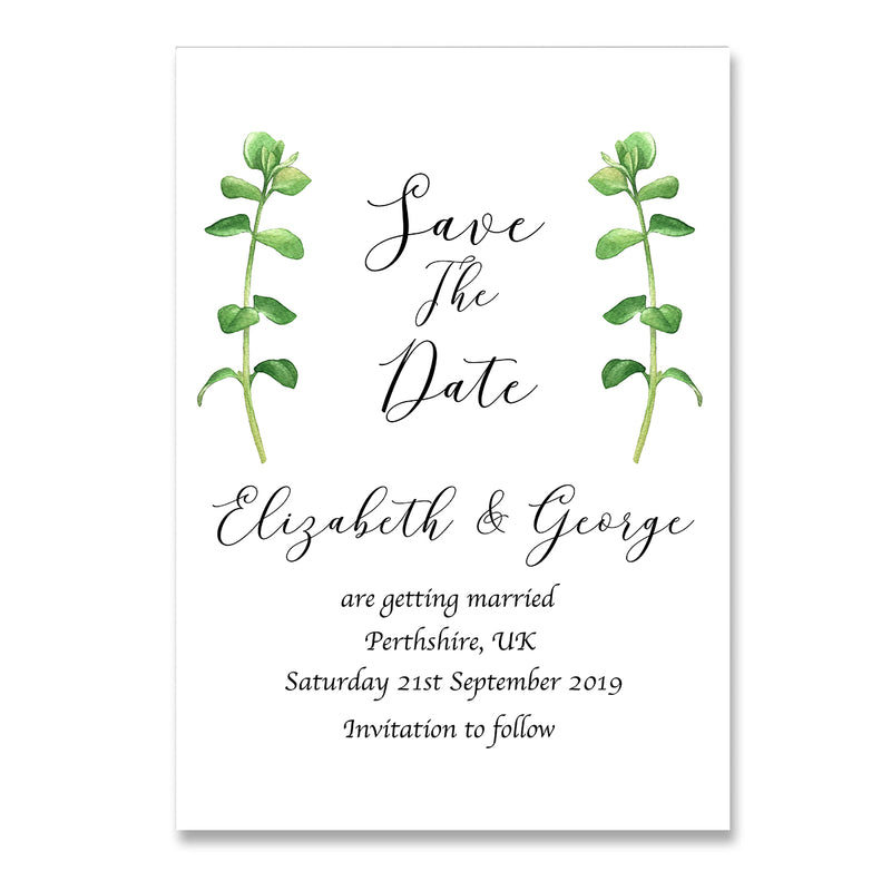 Eucalpytus Save The Date Wedding Card - Mode Prints
