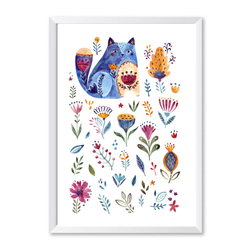 Cat Botanical Watercolour Portrait Art Print - Mode Prints
