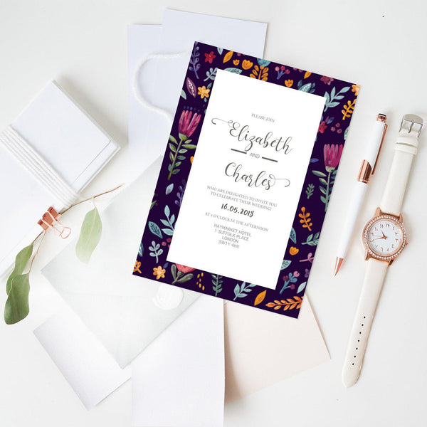 Floral Border Wedding Invitation - Mode Prints