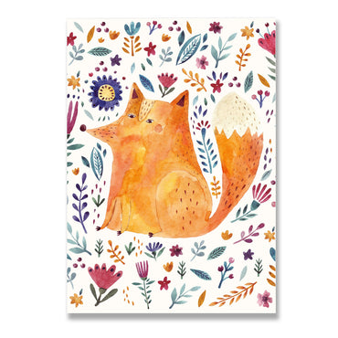 Floral Fox Poster Print-Print-Mode Prints