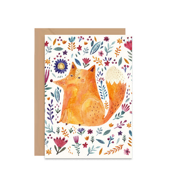 Floral Fox Blank Greeting Card-Greeting Cards-Mode Prints