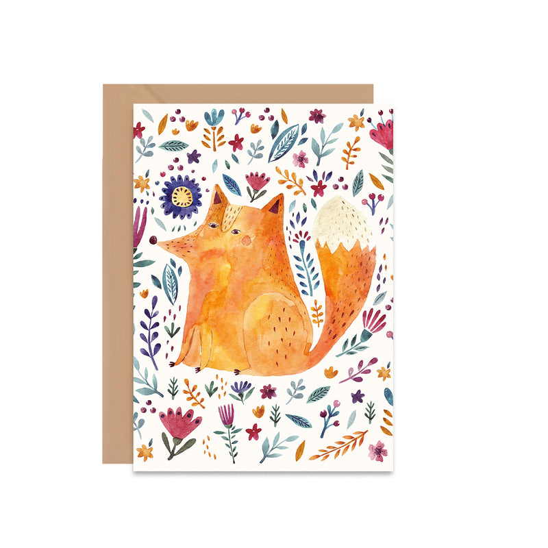 Floral Fox Blank Greeting Card - Mode Prints