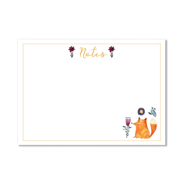 Floral Fox Notepaper Set - Mode Prints