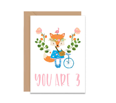Personalised Floral Fox Birthday Card