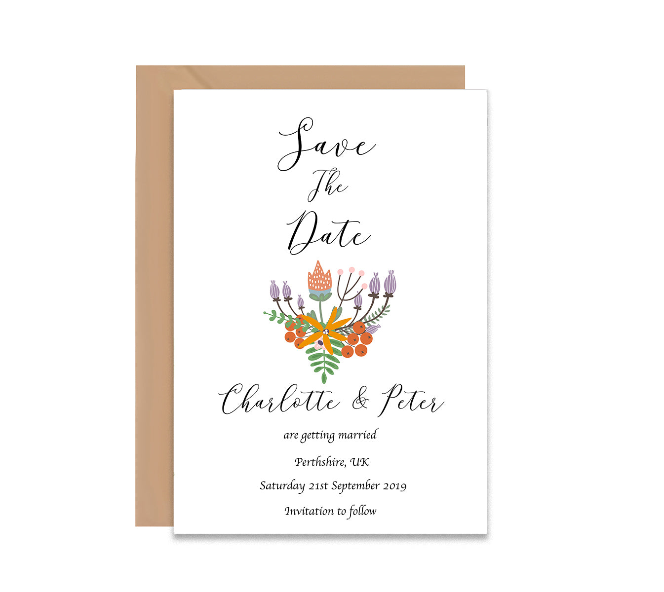 Folk Floral Save The Date Wedding Card-Wedding Stationary-Mode Prints