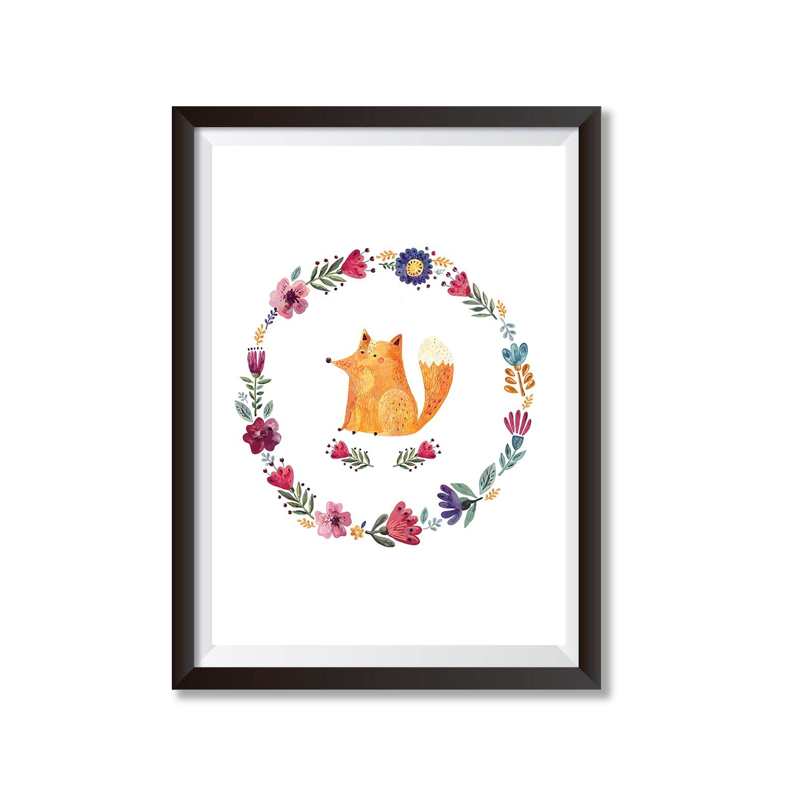 Fox With Floral Border Poster Print-Print-Mode Prints