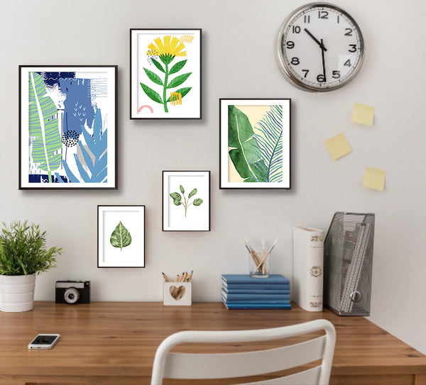 Set Of Five Botanical Leaf Poster Prints Gallery Set - Mode Prints