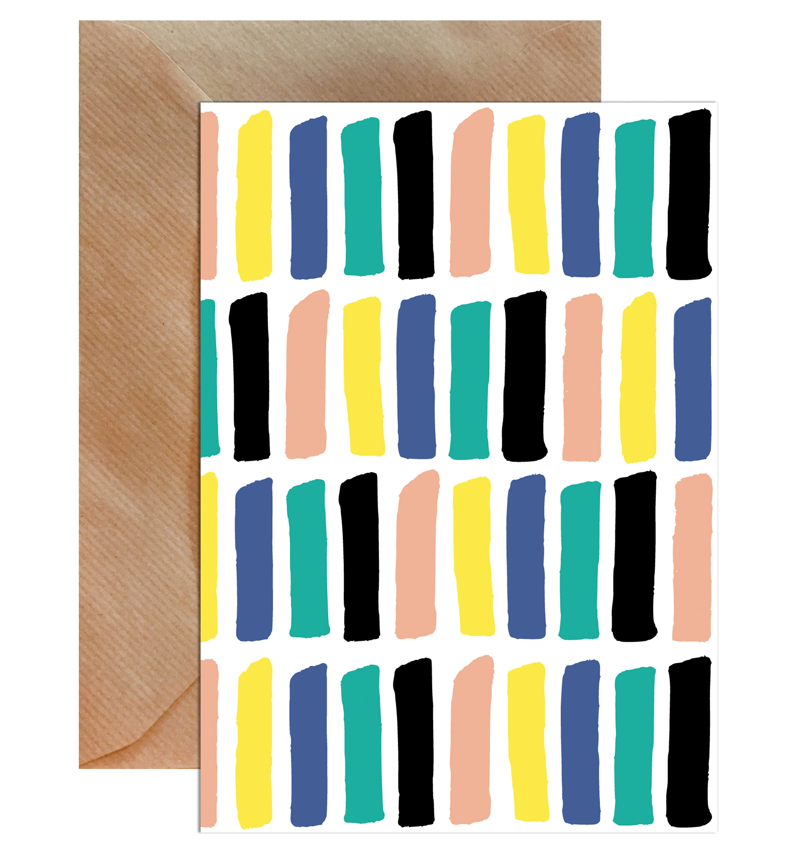 Geometric Bold Block Colour Blank Greeting Card-Greeting Cards-Mode Prints