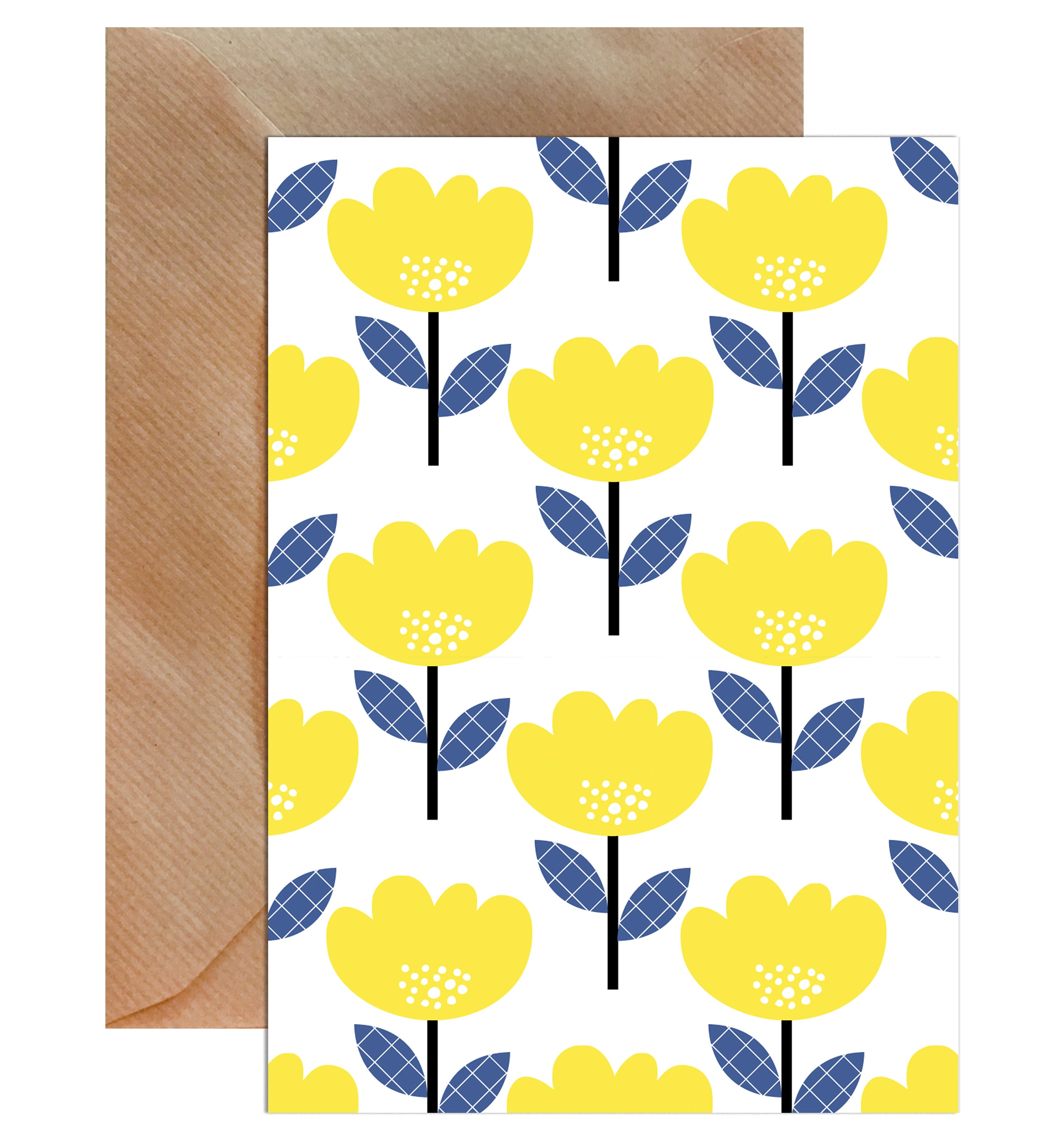 Geometric Flower Pattern Blank Greeting Card-Greeting Cards-Mode Prints