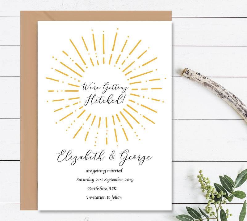 Gold We're Getting Hitched Save The Dates Wedding Card - Mode Prints