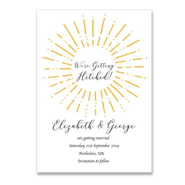 Gold We're Getting Hitched Save The Dates Wedding Card-Wedding Stationary-Mode Prints