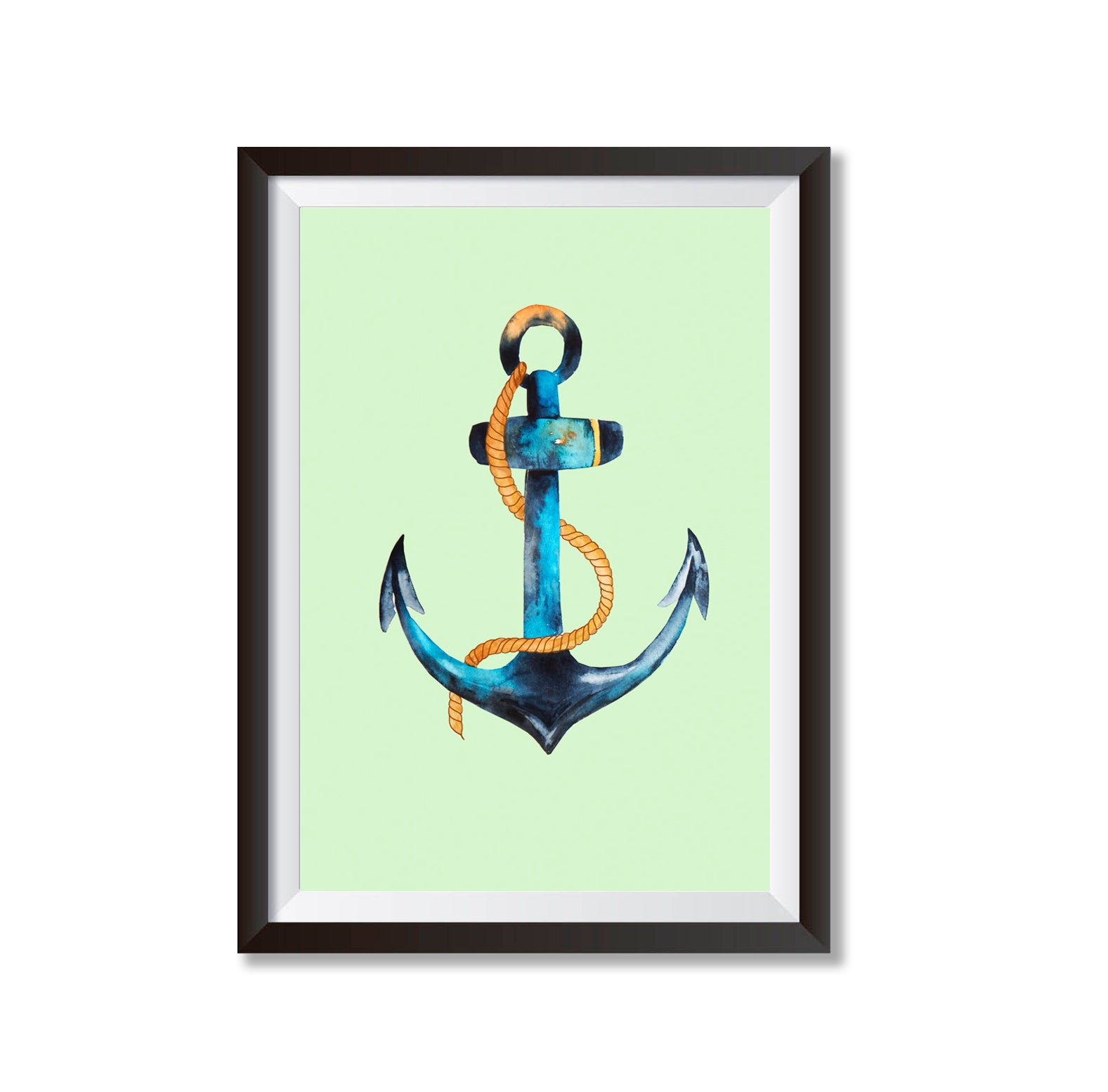 Green Anchor Illustration Poster Print-Print-Mode Prints