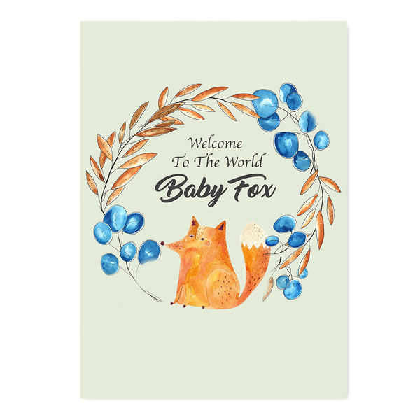 Welcome To The World Baby Fox New Baby Card-Greeting Cards-Mode Prints