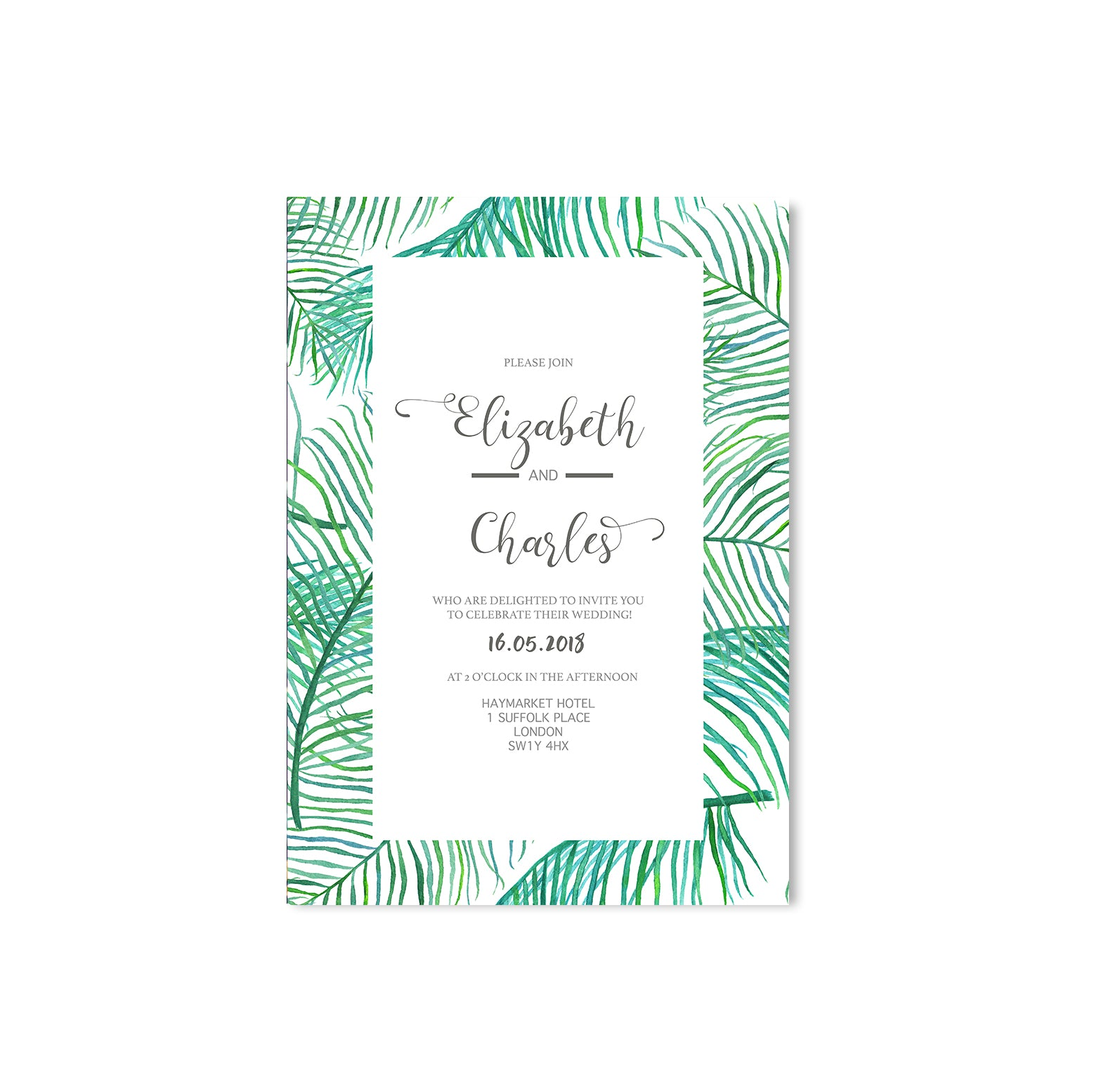 Green Leaf Wedding Invitation-Wedding Stationary-Mode Prints