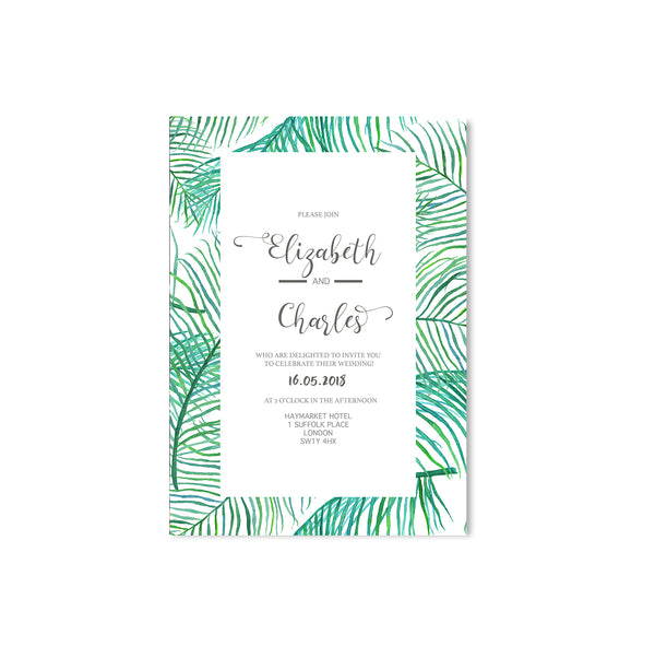 Green Leaf Wedding Invitation - Mode Prints