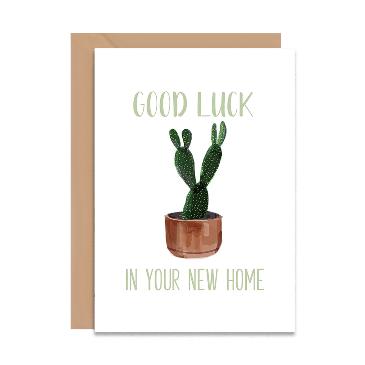 Good Luck In Your New Home Cactus Greeting Card-Greeting Cards-Mode Prints
