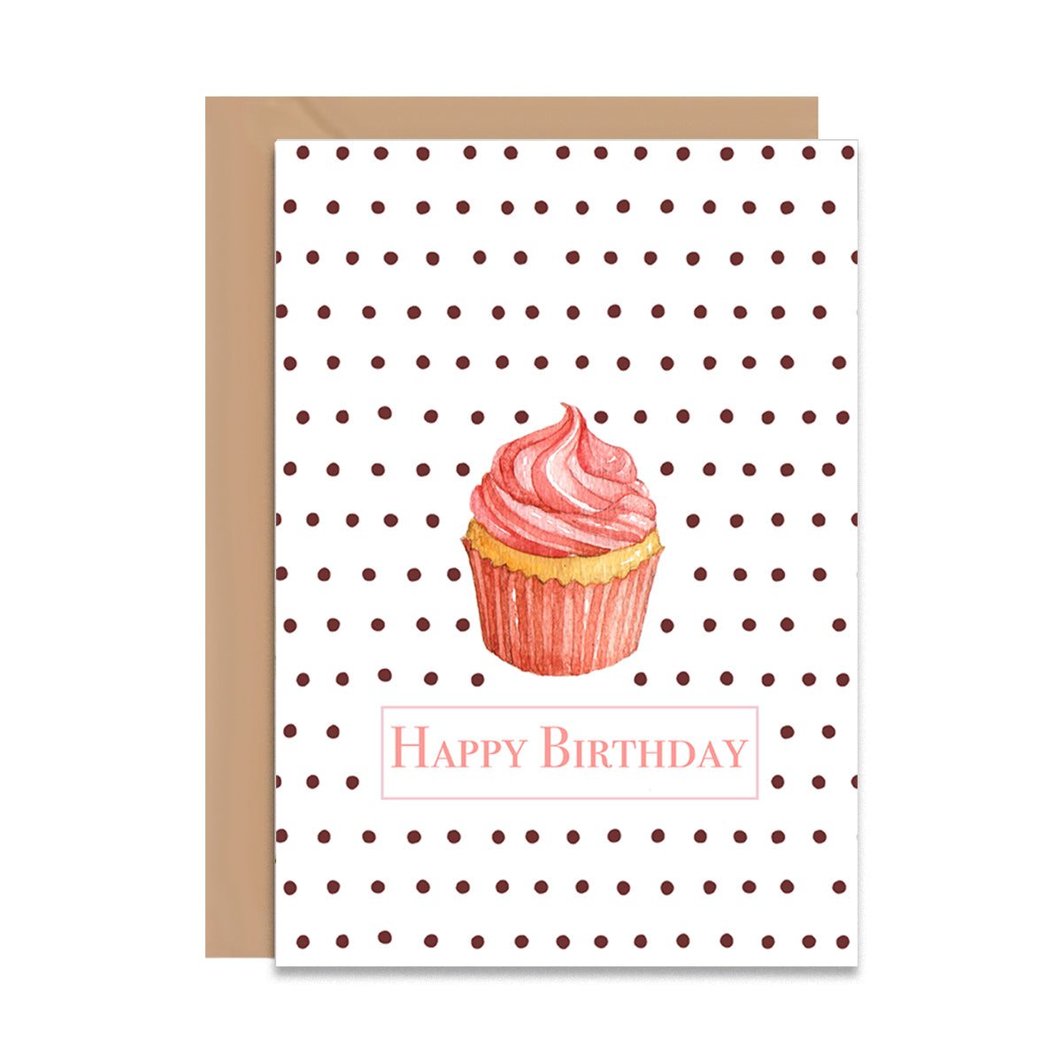 Happy Birthday Retro Cupcake Card-Greeting Cards-Mode Prints