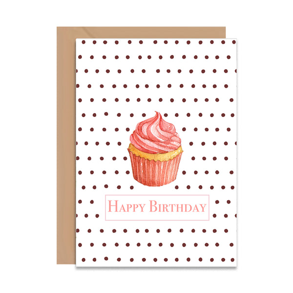 Happy Birthday Retro Cupcake Card - Mode Prints