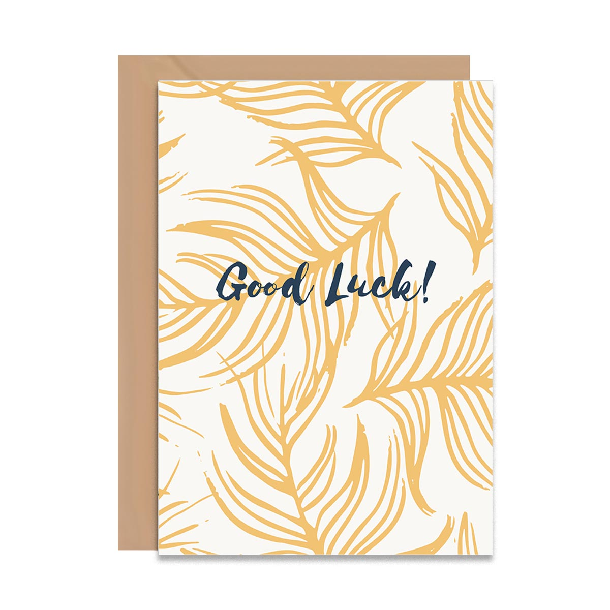 Good Luck Golden Feathers Card-Greeting Cards-Mode Prints