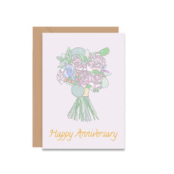 Happy Anniversary Bouquet Of Flowers Greeting Card - Mode Prints