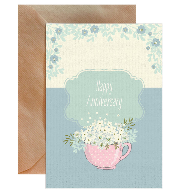 Happy Anniversary Teacup Flowers Greeting Card - Mode Prints