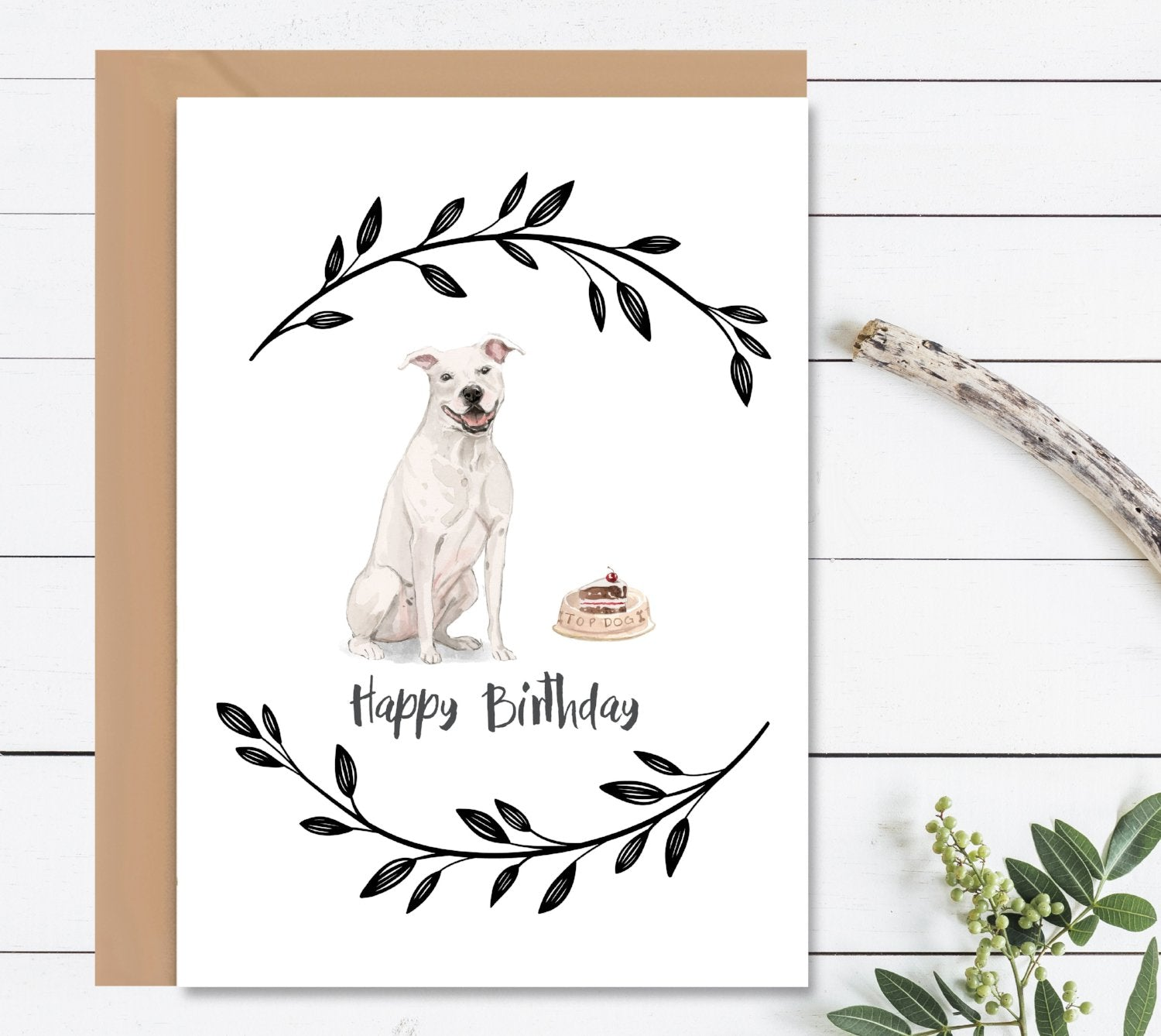 American Staffordshire Terrier Dog Birthday Card-Greeting Cards-Mode Prints