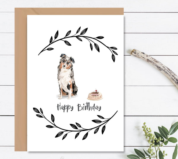 Australian Shepherd Dog Birthday Card - Mode Prints