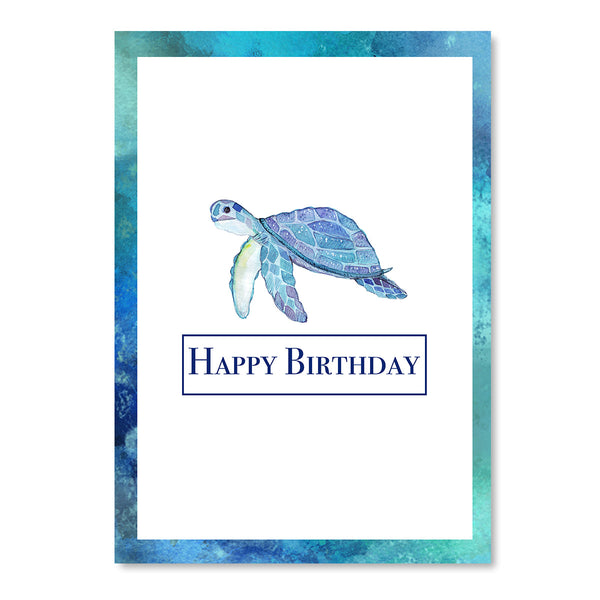 Happy Birthday Blue Turtle Card - Mode Prints