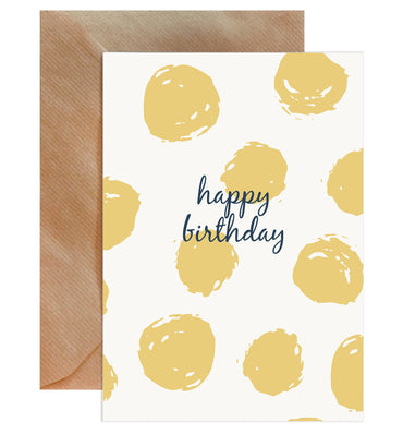 Happy Birthday Yellow Spots On White Card-Greeting Cards-Mode Prints