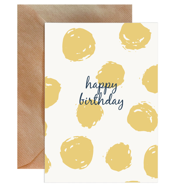 Happy Birthday Yellow Spots On White Card - Mode Prints