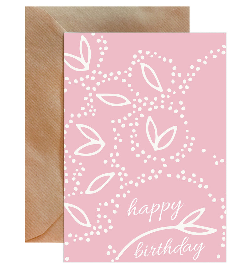 Happy Birthday Pink Doodles On White Card - Mode Prints